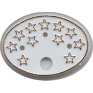 White Oval Base with Gold Stars