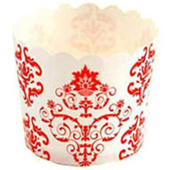 Red Damask Patterned Cupcake Cases