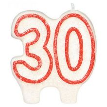 #30 Red Edged Glitter Candle