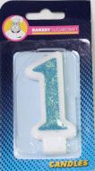 #1 Blue Glitter Number Candle