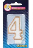 #4 Gold Edged Numeral Candle
