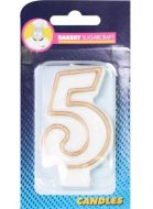 #5 Gold Edged Numeral Candle