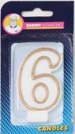 #6 Gold Edged Numeral Candle