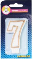 #7 Gold Edged Numeral Candle