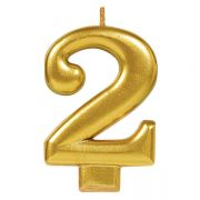 #2 Metallic Gold Numeral Candle