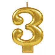 #3 Metallic Gold Numeral Candle