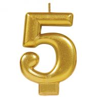 #5 Metallic Gold Numeral Candle
