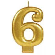 #6 Metallic Gold Numeral Candle