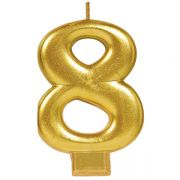 #8 Metallic Gold Numeral Candle