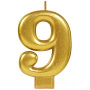 #9 Metallic Gold Numeral Candle