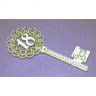 Gold 18th Key Fancy Heart