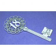 Silver 18th Key Fancy Heart