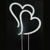Double Heart Diamante Topper