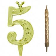 #5 Gold Zodiac Number with Candle