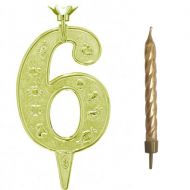 #6 Gold Zodiac Number with Candle