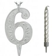 #6 Silver Zodiac Number with Candle