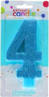 #4 Blue Large Glitter Candle