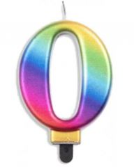 #0 Metallic Rainbow Numeral Candle