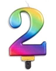 #2 Metallic Rainbow Numeral Candle