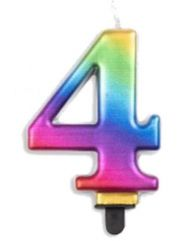#4 Metallic Rainbow Numeral Candle