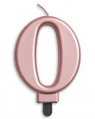 #0 Metallic Rose Gold Numeral Candle
