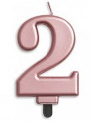 #2 Metallic Rose Gold Numeral Candle
