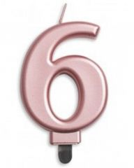 #6 Metallic Rose Gold Numeral Candle