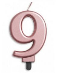 #9 Metallic Rose Gold Numeral Candle