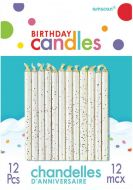 White Glitter Candles by Amscan