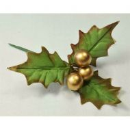Gold Large Three Leaf Holly